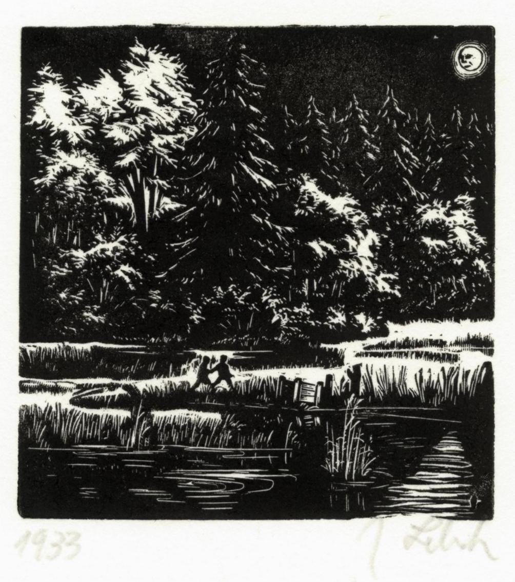 """Aus: """"Die Springsteine. Ein Märchen erdacht und in Holz gestochen von Johannes Lebek"""", 1946, Holzstich"""